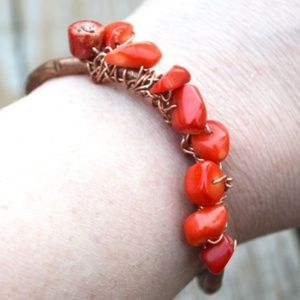 Red Coral Copper Wire Wrapped Solid Cuff Bracelet